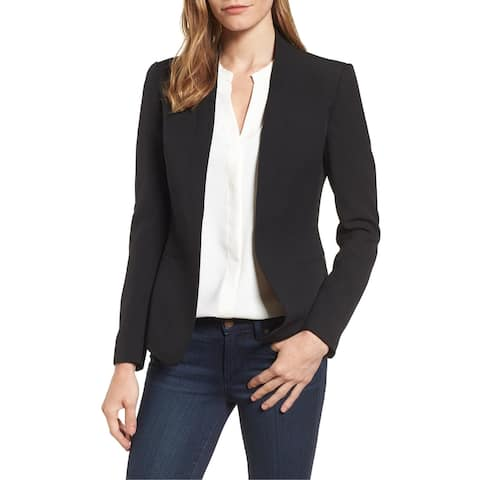Anne Klein Women's Jacket Solid Black Size 16 Open Front Crepe
