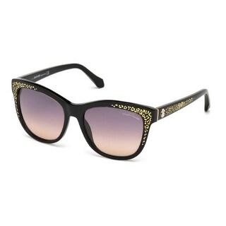 Roberto Cavalli Eyewear Black Frame Gradient Smoke Lens Sunglasses