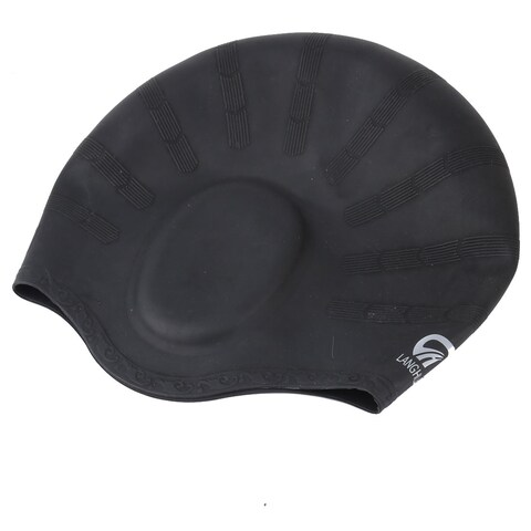 Adult Silicone Dome Design Flexible Elastic Surfing Swimming Cap Hat Black