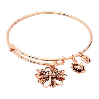 Chrysalis 14K Rose Gold-Flashed Brass Expandable Dragonfly Bangle, 7-8.5""