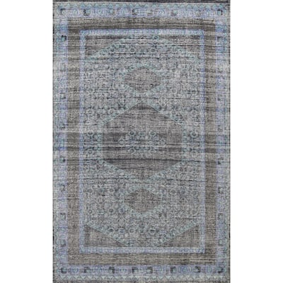 """Geometric Distressed Oushak Oriental Wool Area Rug Hand-knotted Carpet - 7'11"""" x 11'0"""""""