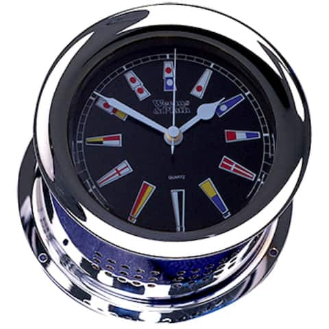 """8"""" Silver and Black Traditional Round Shaped Desk Clock"""