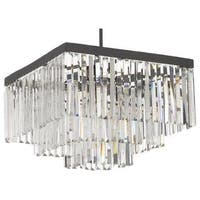 Retro Odeon Crystal Glass Fringe 3 Tier Semi Flushmount Chandelier Semi Flush Mount