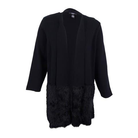 Alfani Women's Plus Size Open-Front Eyelash Cardigan (1X, Deep Black) - Deep Black - 1X
