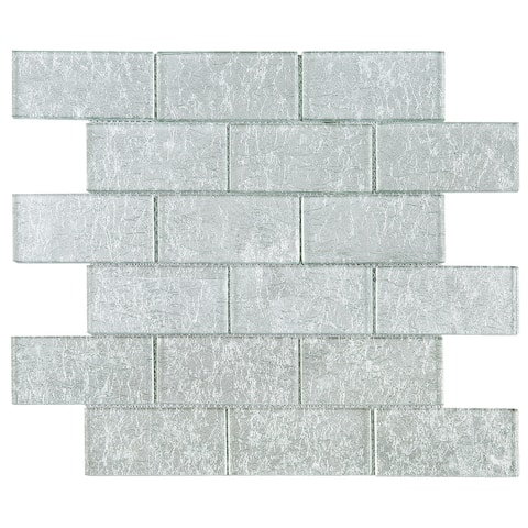 "TileGen. Galaxy 2"" x 4"" Glass Mosaic Tile in Silver Wall Tile (10 sheets/9.6sqft.)"