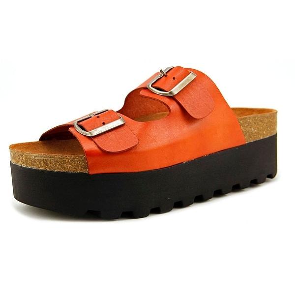 Sixtyseven 76770 Women Open Toe Leather Orange Slides Sandal