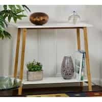 Deals on Carson Carrington Kakarberg 2-Tier Bamboo Frame Console Table