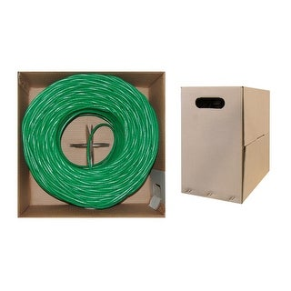 Offex Bulk Cat5e Green Ethernet Cable, Stranded, UTP (Unshielded Twisted Pair), Pullbox, 1000 foot