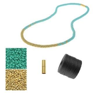 Refill - Long Beaded Kumihimo Necklace - Teal & Gold - Exclusive Beadaholique Jewelry Kit