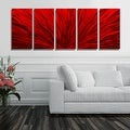 Statements2000 Red 5 Panel Contemporary Metal Wall Art by Jon Allen - Red Plumage - Thumbnail 7