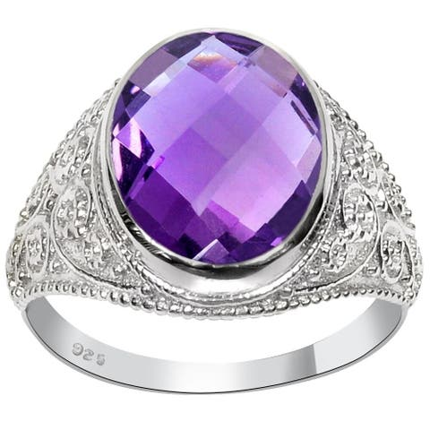 Amethyst Sterling Silver Oval Wedding Ring by Orchid Jewelry