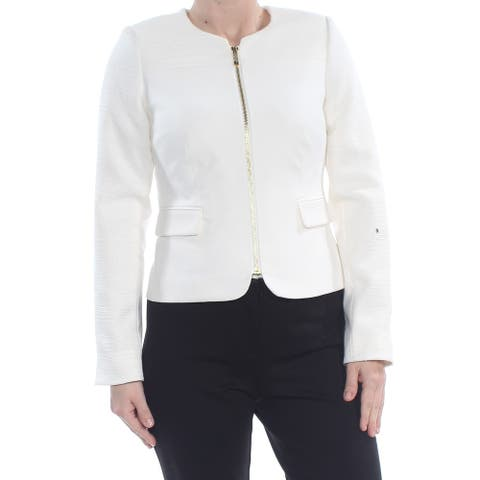 CALVIN KLEIN Womens Ivory Zip Up Jacket Petites Size: 1X