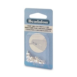 Beadalon Crimp Tubes, for 1mm Rubber Stretch Cords, 40 Pieces, Silver Plated