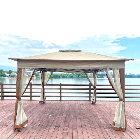Outdoor 11x 11Ft Pop-Up Gazebo Canopy With Removable Zipper Netting,2-Tier Soft Top Event Tent, For Patio Backyard Garden