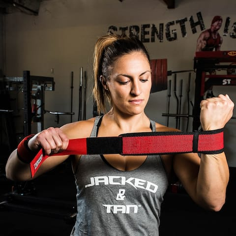 Sling Shot STretchy Wrist Wraps by Mark Bell - Elastic weight lifting supports - 12""