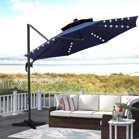 Ainfox 10ft Patio Offset Cantilever Umbrella UV Protection with LED Lights