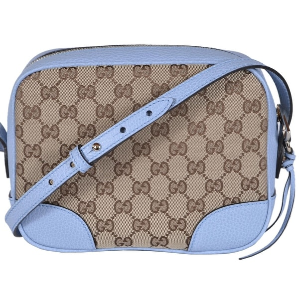 cfa1e7c87 Gucci 449413 Beige Blue Canvas Leather GG Guccissima BREE Crossbody Purse -  Beige/Blue -