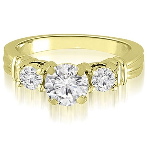 1.50 cttw. 14K Yellow Gold Vintage Three-Stone Round Cut Diamond Engagement Ring