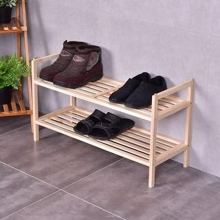 costway 2 tier solid wood shoe rack shelf storage organizer wooden slats entryway home