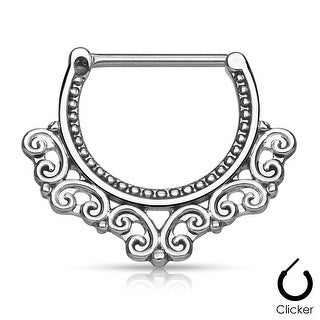 Tribal Hearts Filigree Surgical Steel Nipple Clicker (Sold Ind.)
