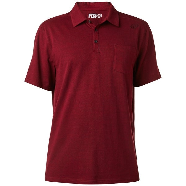 62b763e7 FOX Heather Burgundy Red Mens Size XL Logo Pocket Polo Rugby Shirt