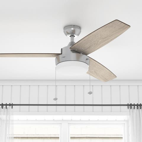 Copper Grove Andreas 52-inch Brushed Nickel LED Ceiling Fan with 3 Barnwood Blades
