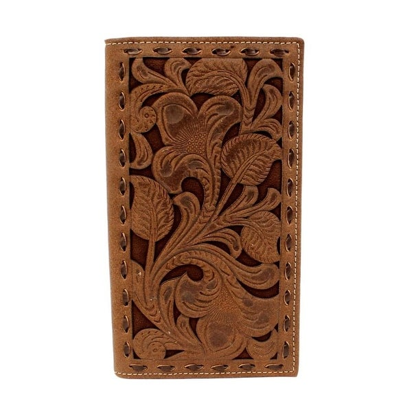 Nocona Western Wallet Mens Rodeo Buck Lace Edges Chocolate - 6 3/4 x 3 3/4