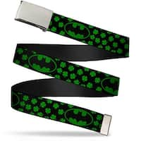 Blank Chrome  Buckle Bat Shield Clovers Black Green Black Webbing Web Belt