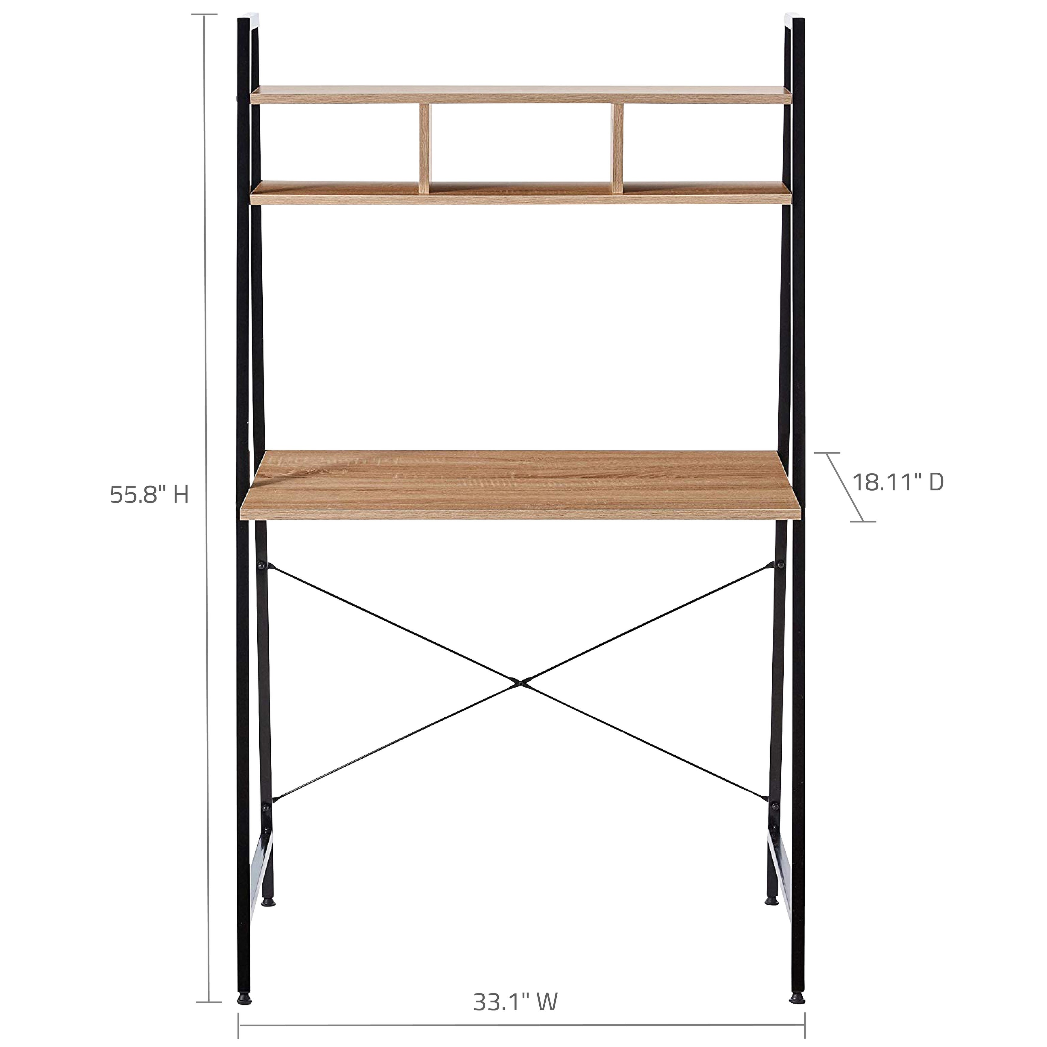 Offex Home Office Black Ladder Steel Desk With Wooden Bookcase Above Overstock 27980663