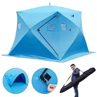 Gymax Waterproof Pop-up 4-person Ice Shelter Fishing Tent Shanty w Window Carrying Bag