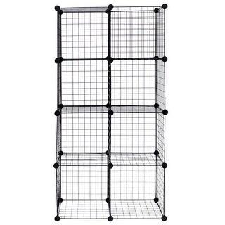 Costway 8 Cube Grid Wire Organizer Wardrobe Shelves Bookcase DIY - Black