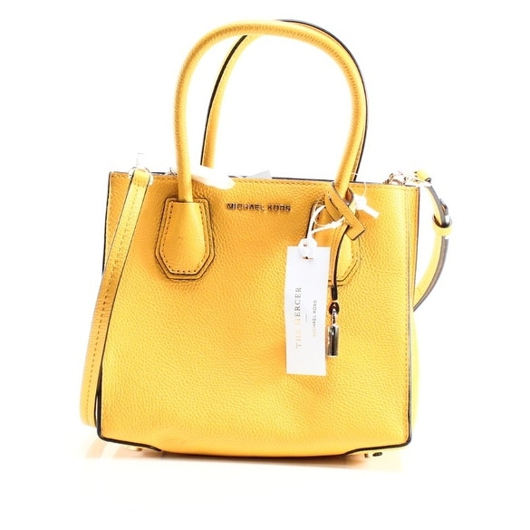 e3f87e534ac344 Shop Michael Kors NEW Yellow Pebble Leather Mercer Medium Crossbody Purse - Free  Shipping Today - Overstock - 19762946