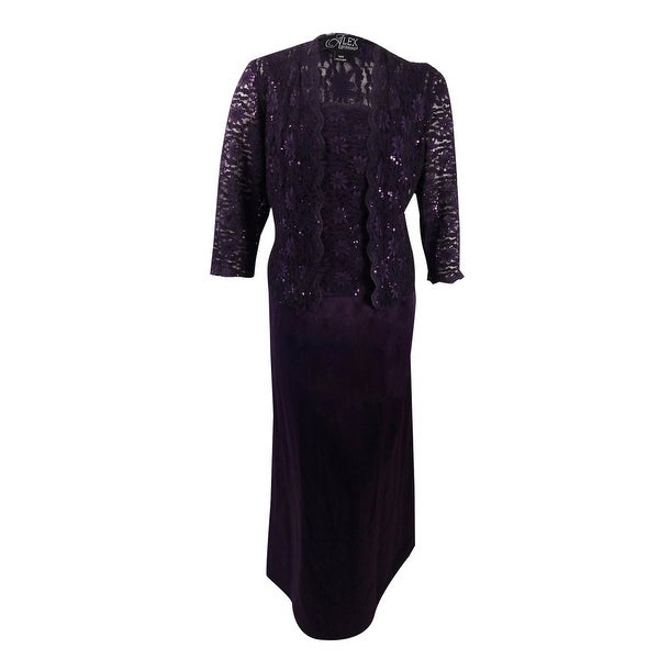 87e3579704f Shop Alex Evenings Women s Plus Size Sequin-Lace Gown and Jacket ...