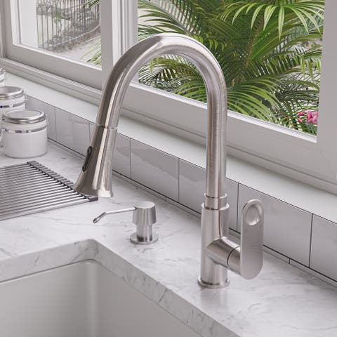 Brushed Nickel Gooseneck Pull Down Kitchen Faucet
