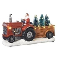 Set of 2 Musical LED Santa Claus Tractor Trailer and Trees Decorative Christmas Figurine 11.5 - green
