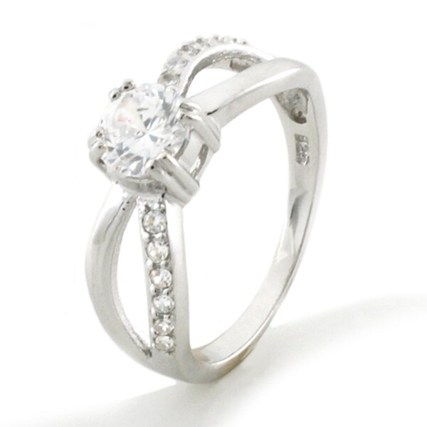 Sterling Silver Infinity Ribbon Cubic Zirconia Ring