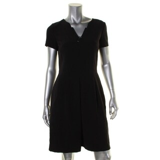 Tahari ASL Womens Wear to Work Dress Jeweled V-Neck - 4