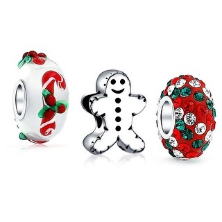 Bling Jewelry 925 Sterling Silver Gingerbread Man Cookie Christmas Candy Cane Bead Charm Set
