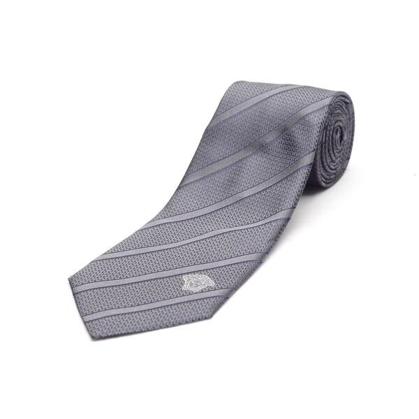Versace Men's Medusa Logo Silk Neck Tie B1217 Grey