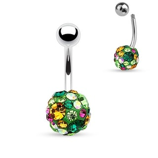 "Green Crystal Pave 10mm Ferido Ball Surgical Steel Navel Ring - 14GA - 3/8"" Length (Sold Ind.)"