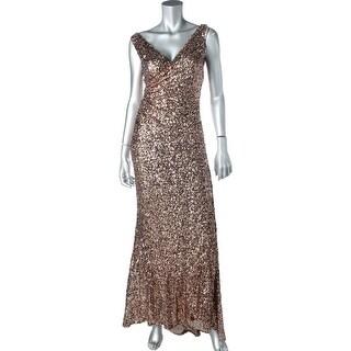 Mark + James Womens Sequined Mesh Prom Evening Dress - 2