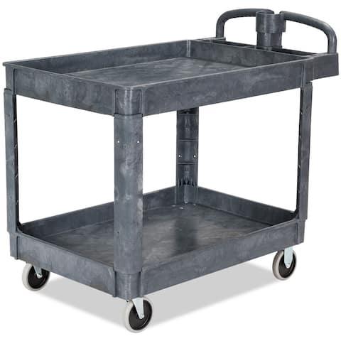 Costway Plastic Utility Service Cart 550 LBS Capacity 2 Shelves Rolling 43'' x 25'' x 40''