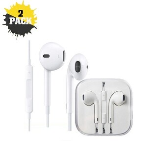 2-Pack iPM Apple Inspired Earpod Headphones With Mic For All Smartphones - iPhones, Galaxy