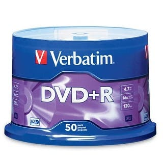 Verbatim VER95037S Verbatim 4.7 GB up to16x Branded Recordable Disc DVD+R - 50 Disc Spindle 95037|https://ak1.ostkcdn.com/images/products/is/images/direct/6178ab7a027cde56294fa545af268c273c448269/Verbatim-VER95037S-Verbatim-4.7-GB-up-to16x-Branded-Recordable-Disc-DVD%2BR---50-Disc-Spindle-95037.jpg?impolicy=medium