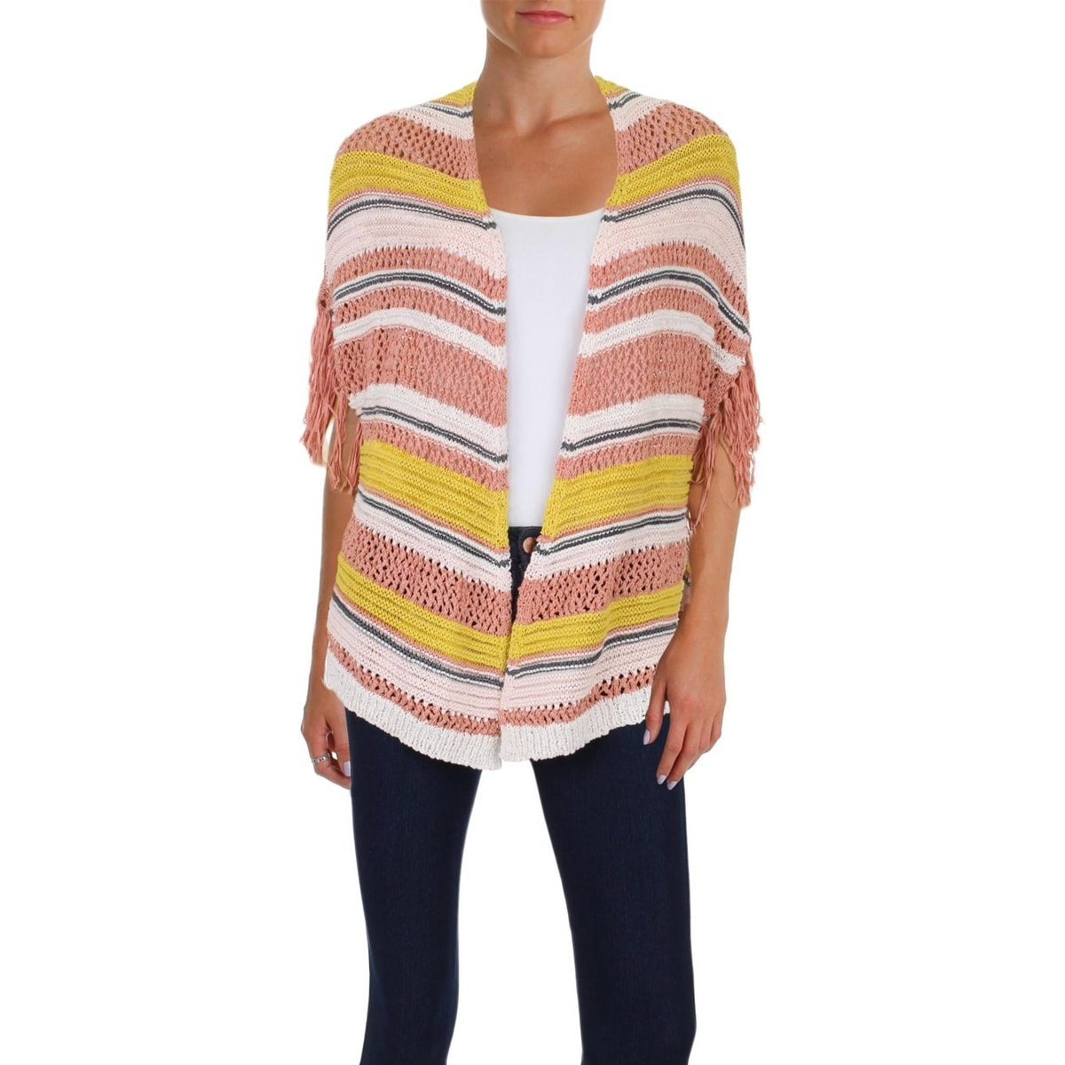 e216d91215691 Shop Jessica Simpson Womens Poncho Sweater Open Front Fringe Trim - S -  Free Shipping On Orders Over $45 - Overstock - 23486369