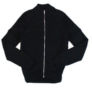 INC NEW Deep Men's Black Size Small S Full Zip Mock-Neck Knit Sweater