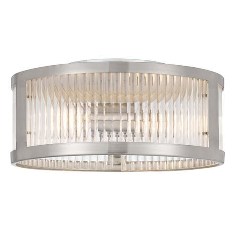 Toluca 2-Light Brushed Nickel with Ribbed Glass Flush Mount 11.8 in. - Small Flush Mount