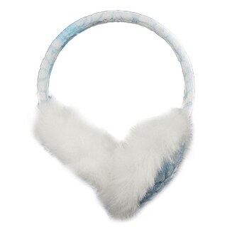 Unique Bargains Winter Plush Coated Rim Earlap Earmuffs White Blue for Lady