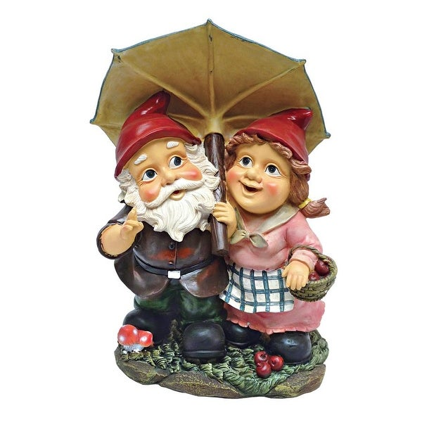 Design Toscano Rainy Day Gnomes Under an Umbrella Garden Statue