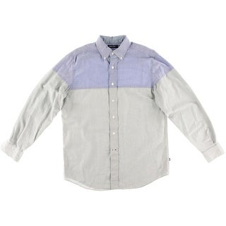 Nautica Mens Cotton Colorblock Button-Down Shirt